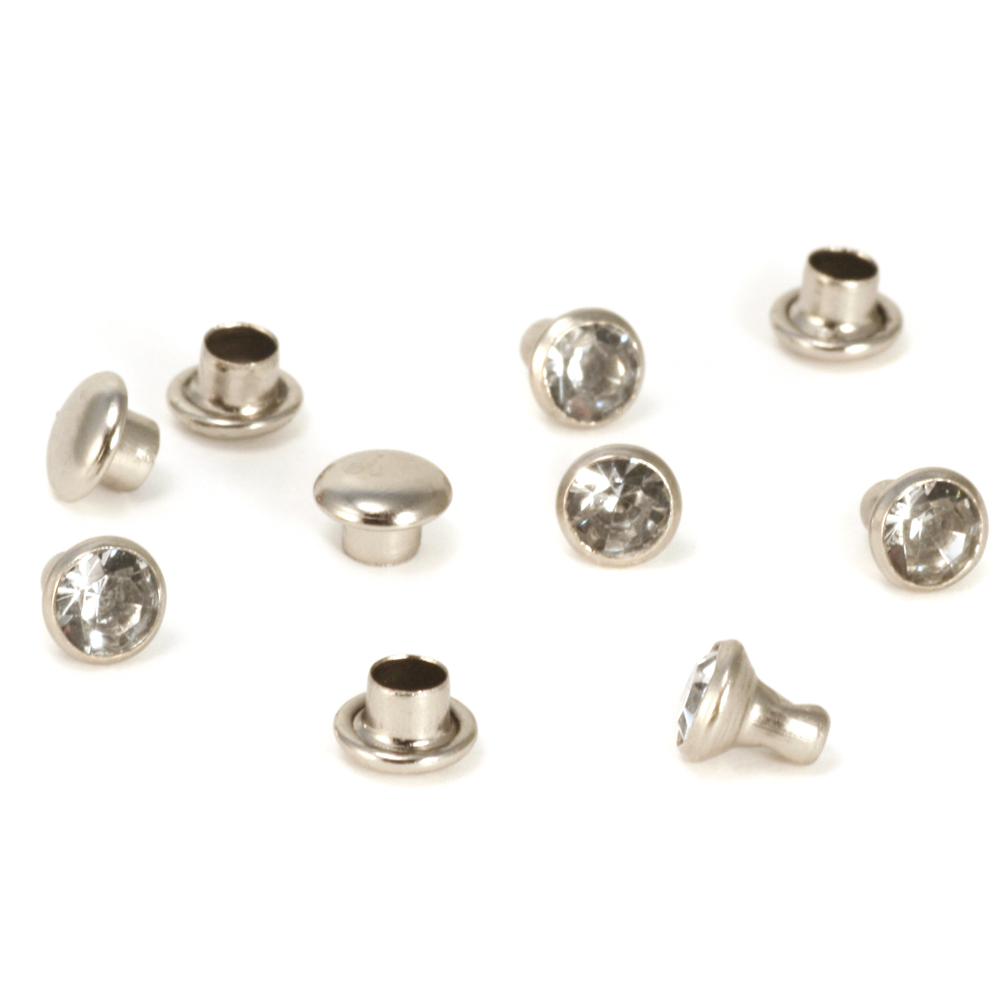 "Rivets,  Findings & Stringing Crystal 5/32"" Snap Rivets, Clear 5mm, 5 pk"