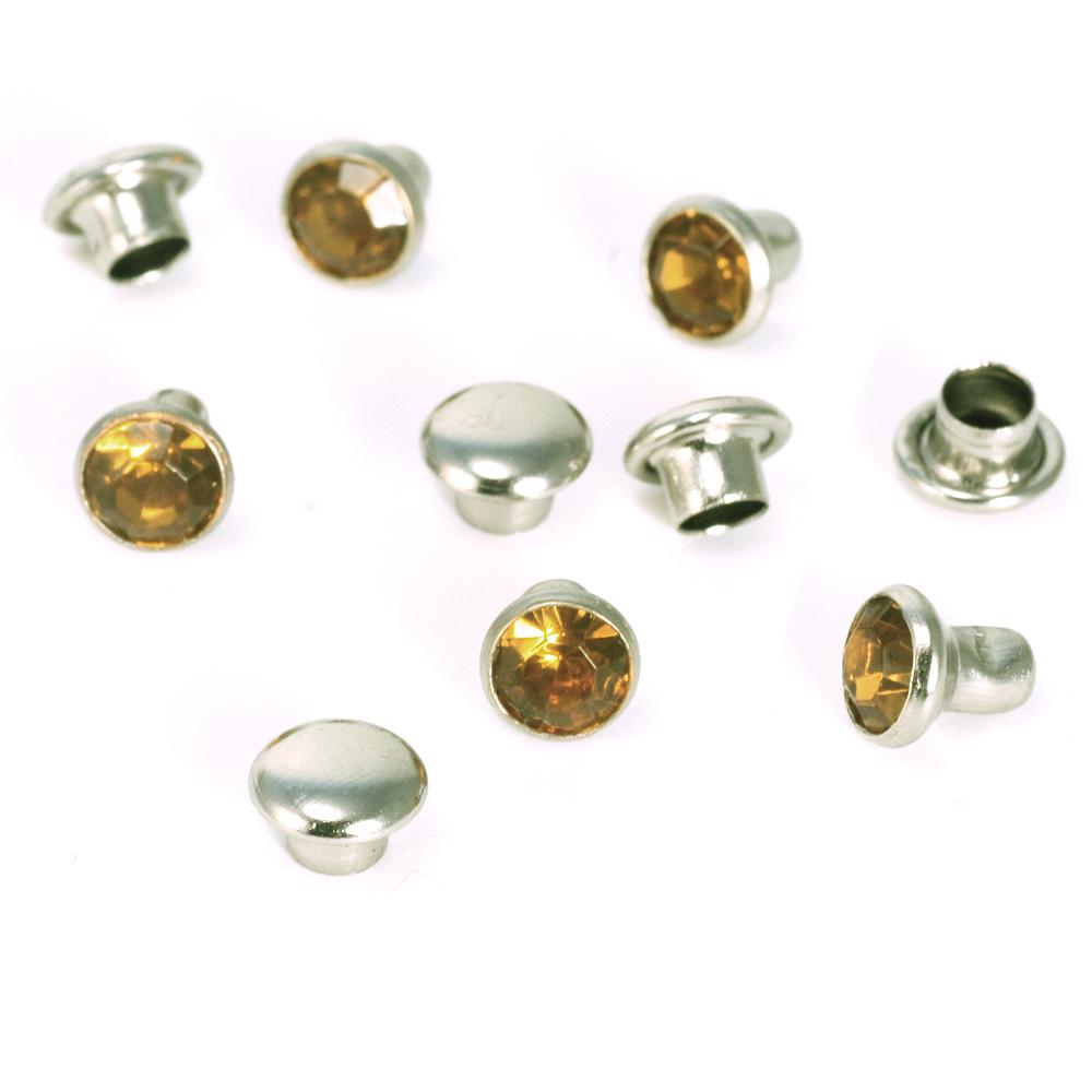 "Rivets,  Findings & Stringing Crystal 5/32"" Snap Rivets, Topaz 5mm, 5 pk"