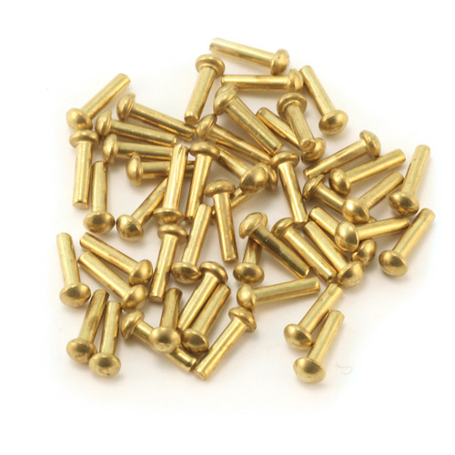 "Riveting Tools & Supplies Brass Round Head 1/16"" Rivets, 1/4"" Long, Pk 50"
