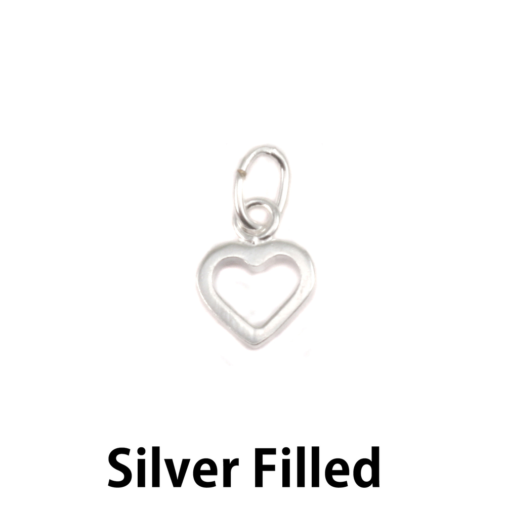 Charms & Solderable Accents Silver Filled Tiny Open Heart Charm with Top Loop