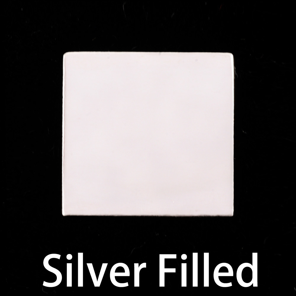 "Metal Stamping Blanks Silver Filled Square 3/4"" (19.1mm), 24g"