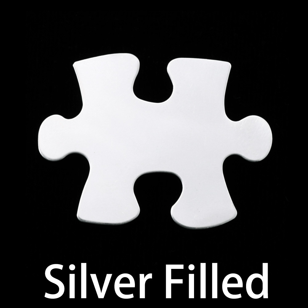 Metal Stamping Blanks Silver Filled Puzzle Piece, 24g