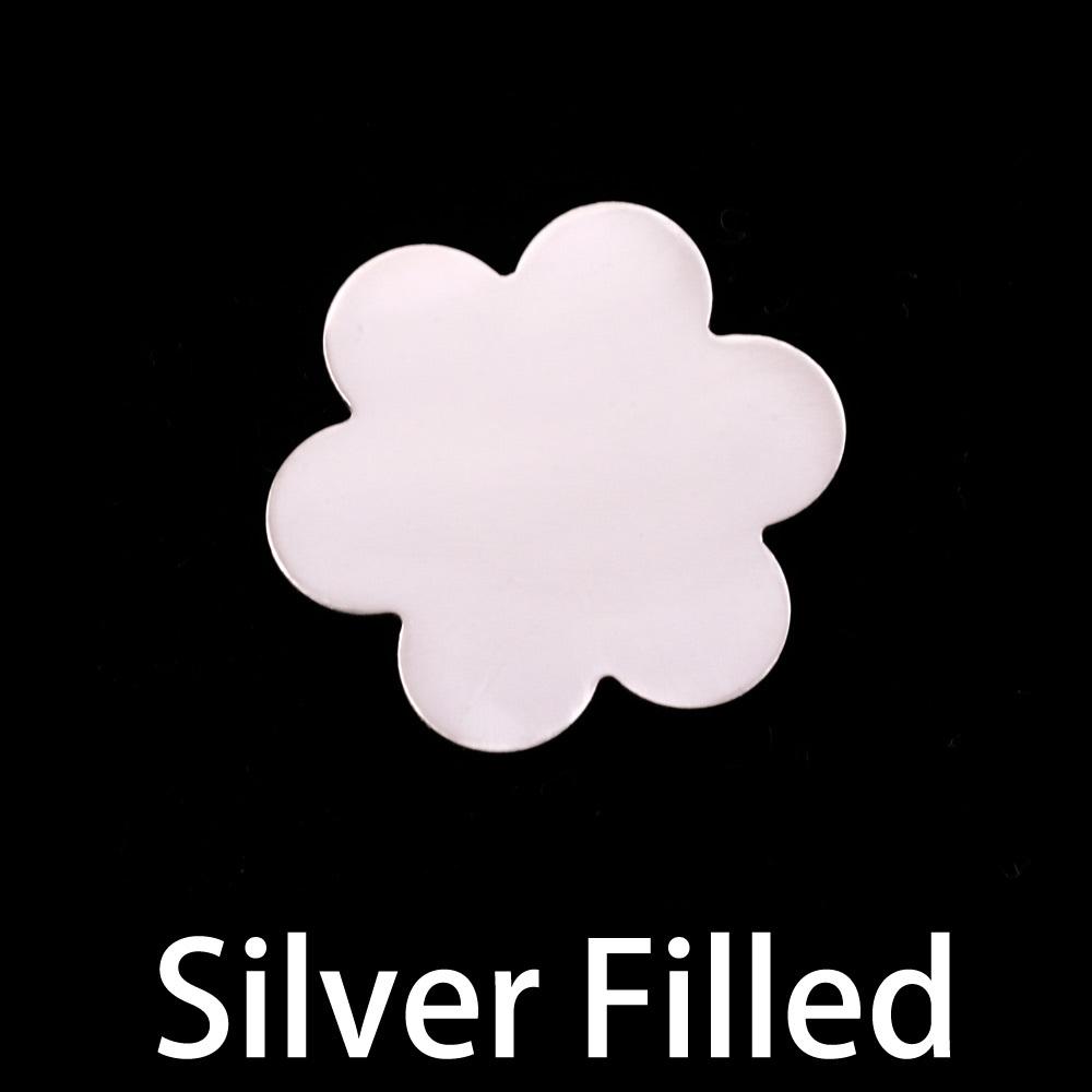 Metal Stamping Blanks Silver Filled Large 6 Petal Flower, 24g