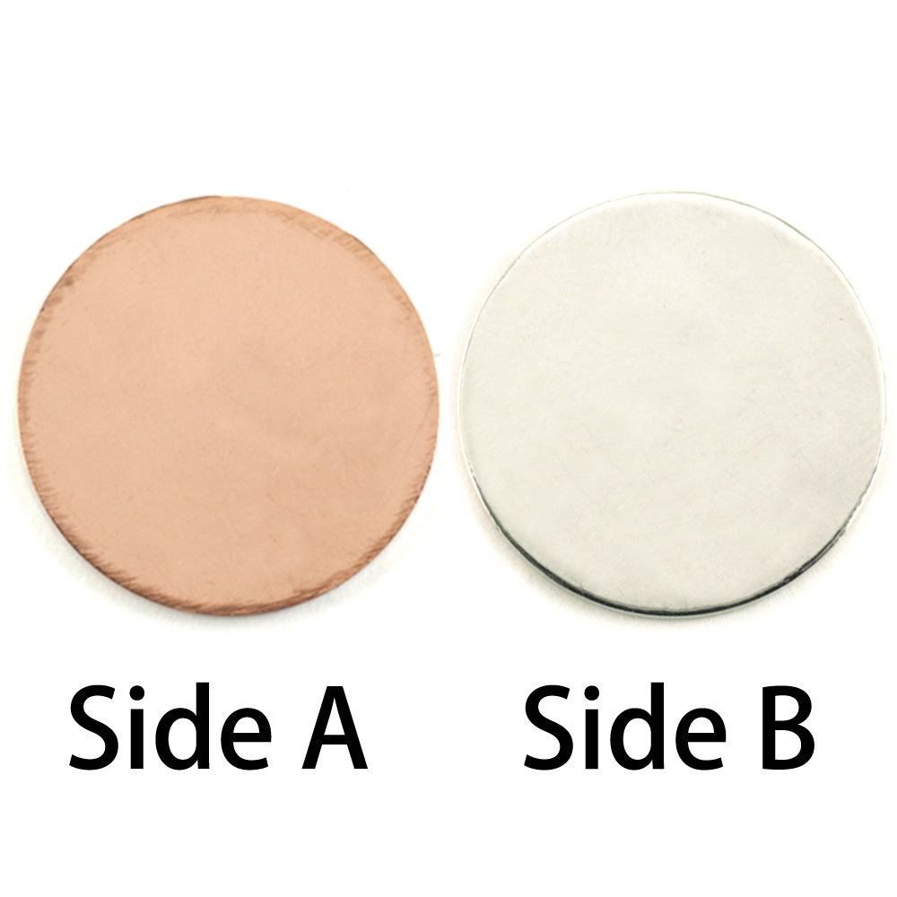 """Metal Stamping Blanks Single Clad 1"""" (25mm) Circle, 18g"""