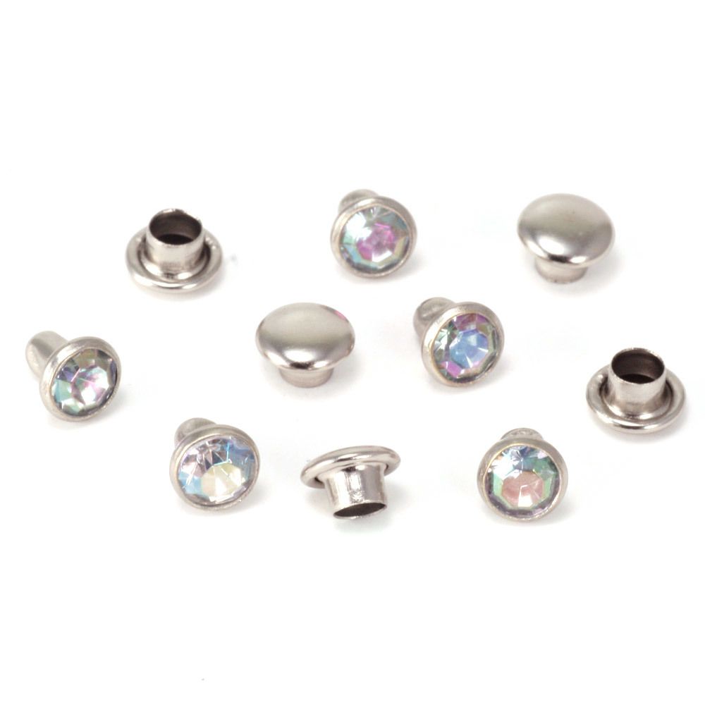 "Rivets,  Findings & Stringing Crystal 5/32"" Snap Rivets, Clear AB 5mm, 5 pk"