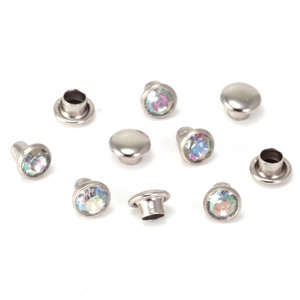 """Rivets,  Findings & Stringing Crystal 5/32"""" Snap Rivets, Clear AB 5mm, 5 pk"""