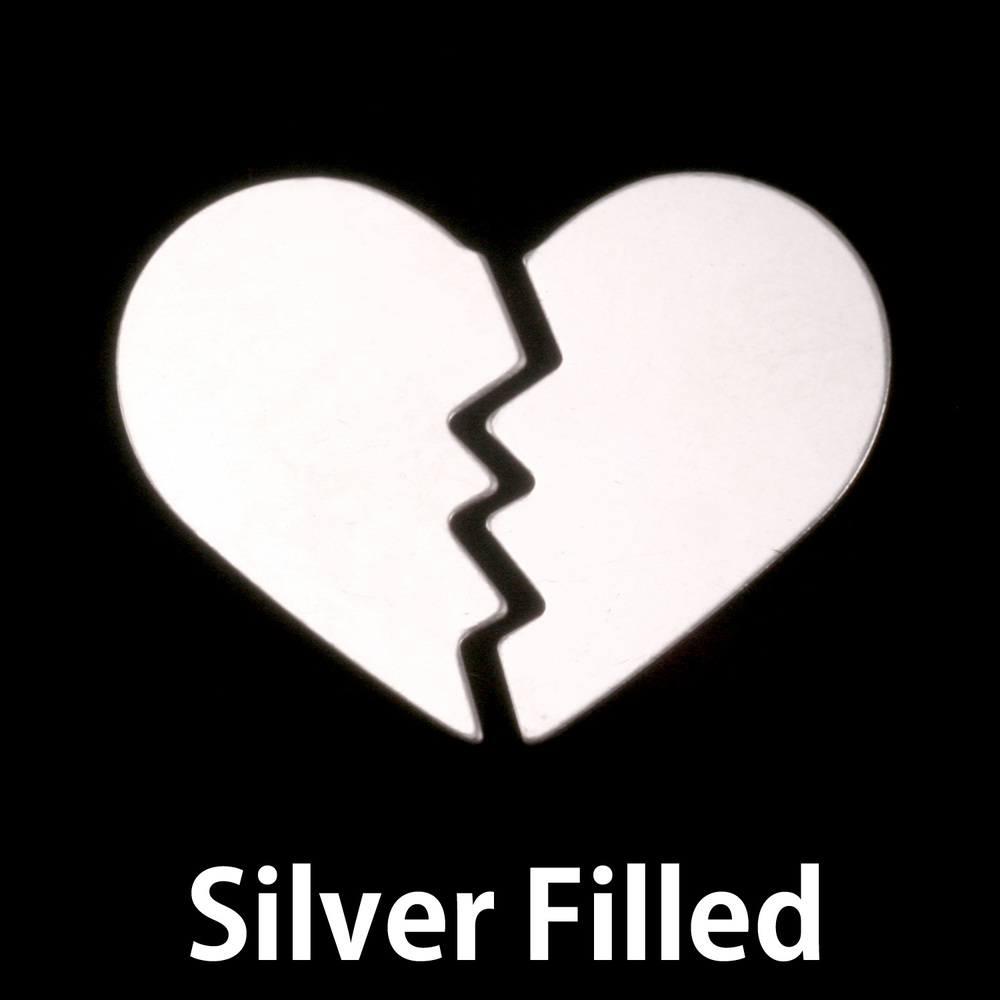 Metal Stamping Blanks Silver Filled Broken Heart Blank, 24g