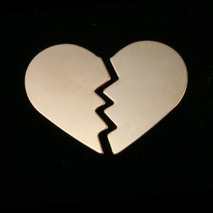 Metal Stamping Blanks Gold Filled Broken Heart, 2 pieces, 24g
