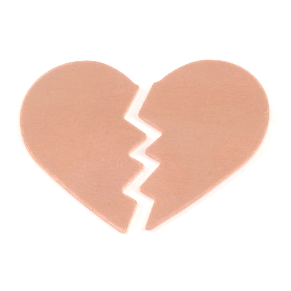 "Metal Stamping Blanks Copper Broken Heart, 26mm (1.02"") x 16mm (.63""), 24g, Pack of 5 Sets"