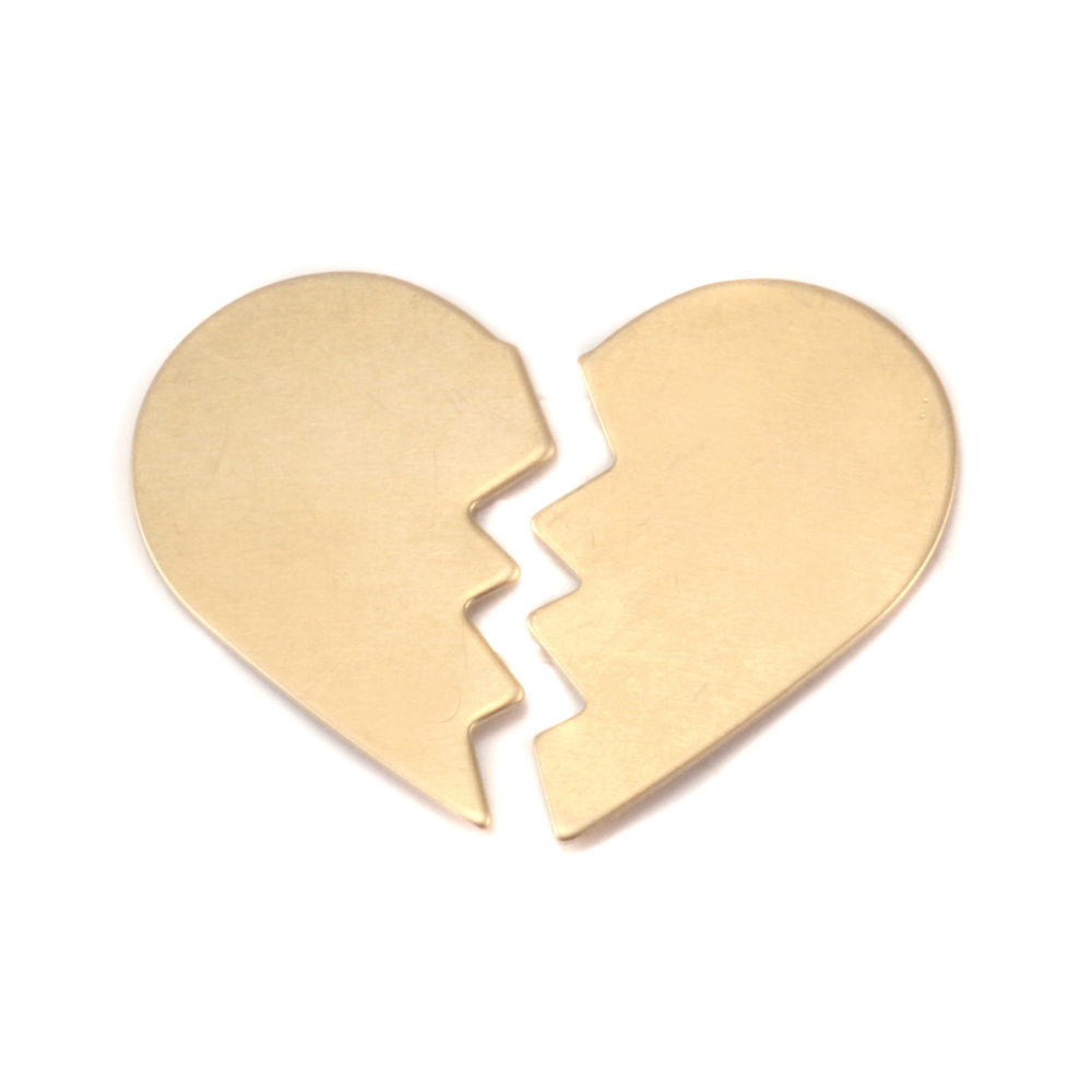 "Metal Stamping Blanks Brass Broken Heart, 2 parts, 26mm (1.02"") x 16mm (.63""), 24g"