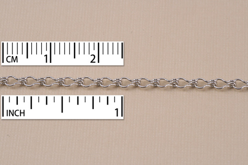 Chain & Jump Rings Rhodium Finish, Ladder Chain, 5mm x 2mm, by the Inch