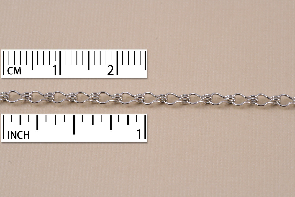 Chain & Clasps Rhodium Finish, Ladder Chain, 5mm x 2mm, by the Inch