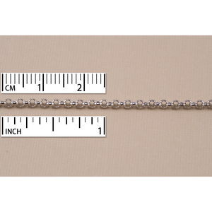 Chain & Clasps Rhodium Finish, Rolo Chain, 2mm, by the Inch