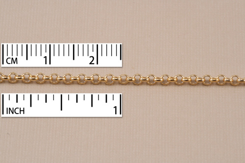 Chain & Jump Rings Gold Finish, Rolo Chain, 2mm, by the Inch