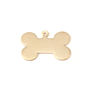 "Metal Stamping Blanks Brass Dog Bone with Top Loop, 20mm (.79"") x 13mm (.51""), 24g"