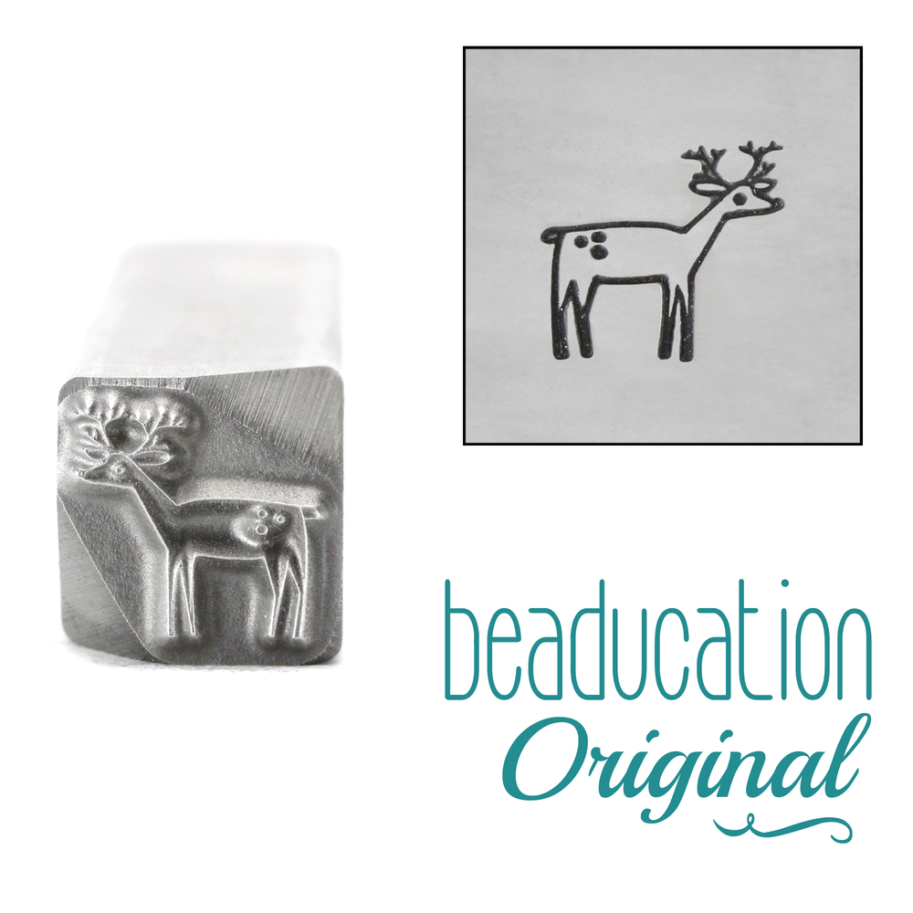 Metal Stamping Tools Deer Facing Right Metal Design Stamp, 8mm - Beaducation Original