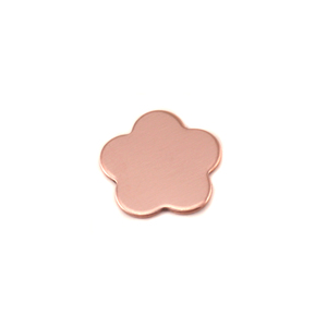 "Metal Stamping Blanks Copper Flower with 5 Petals, 10.5mm (.41""), 24g, Pk of 5"