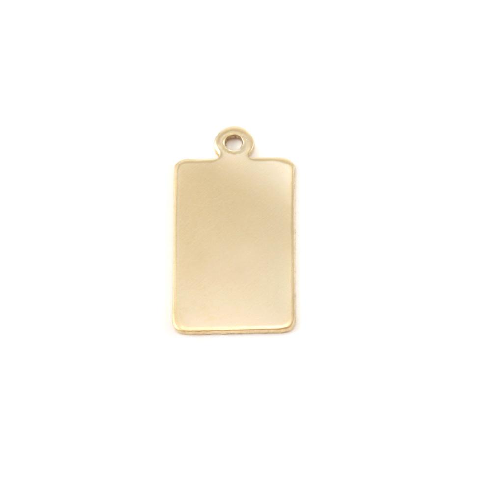 Metal Stamping Blanks Brass Rectangle w/Top Loop (14.5mm x 9mm),  24g