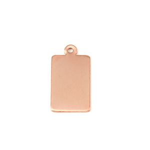 Metal Stamping Blanks Copper Rectangle w/Top Loop (14.5mm x 9mm),  24g