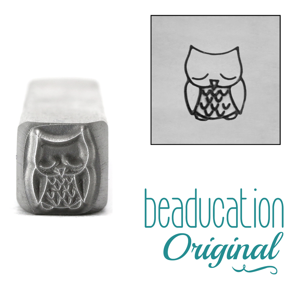 Metal Stamping Tools Sleepy Owl Metal Design Stamp, 8mm - Beaducation Original