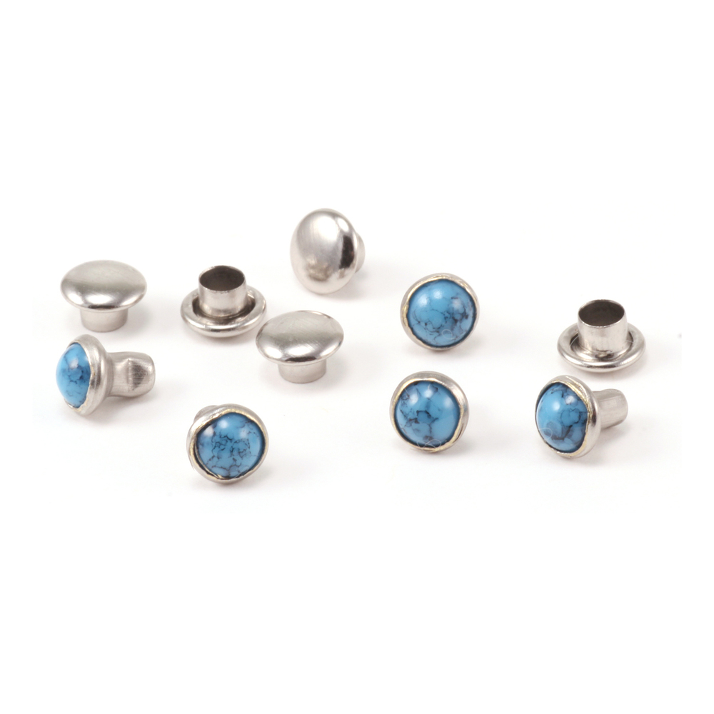 """Rivets,  Findings & Stringing Faux Turquoise 5/32"""" Snap Rivets,  5mm, 5 pk"""