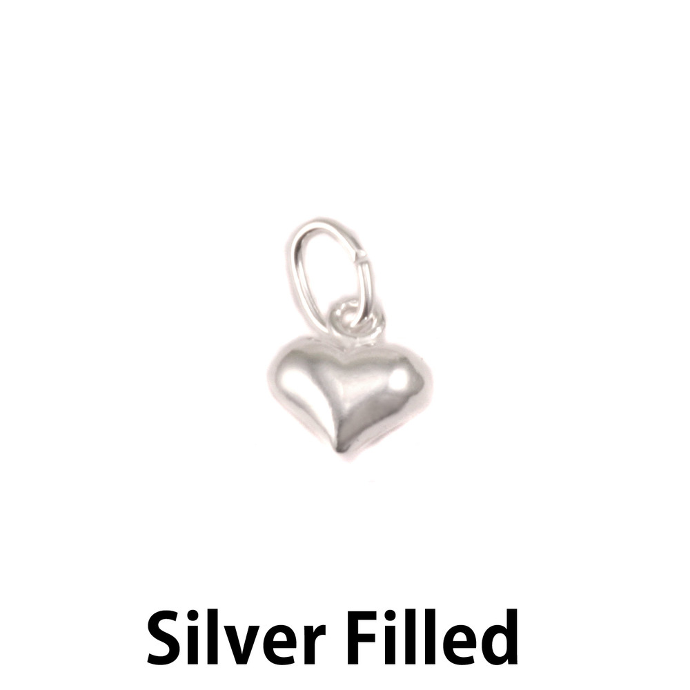 Charms & Solderable Accents Silver Filled Small Puffy Heart Charm