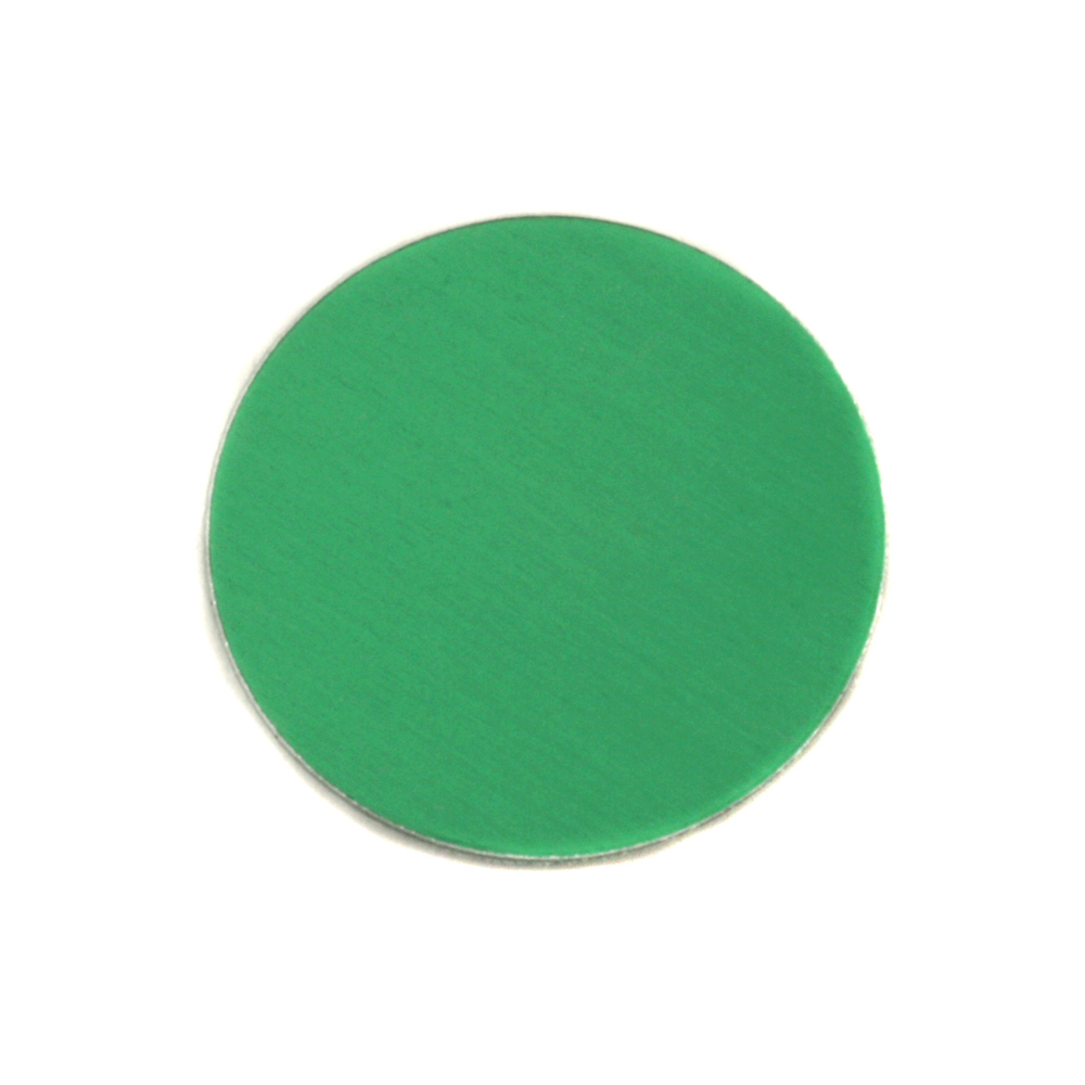 "Metal Stamping Blanks Anodized Aluminum 3/4"" Circle, Kelly Green, 24g"