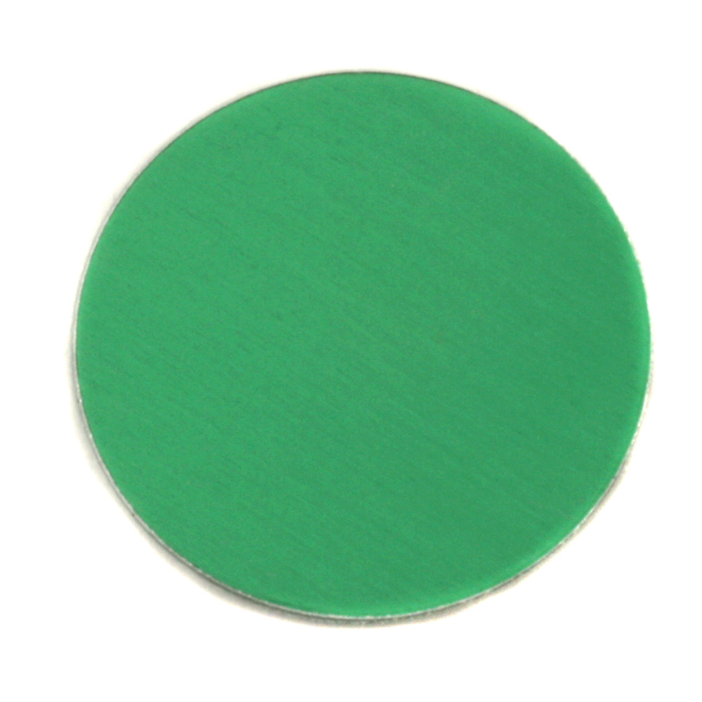 "Metal Stamping Blanks Anodized Aluminum 1"" Circle, Kelly Green, 24g"