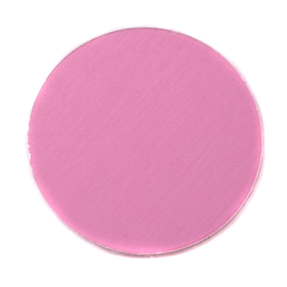 "Metal Stamping Blanks Anodized Aluminum 1"" Circle, Pink, 24g"