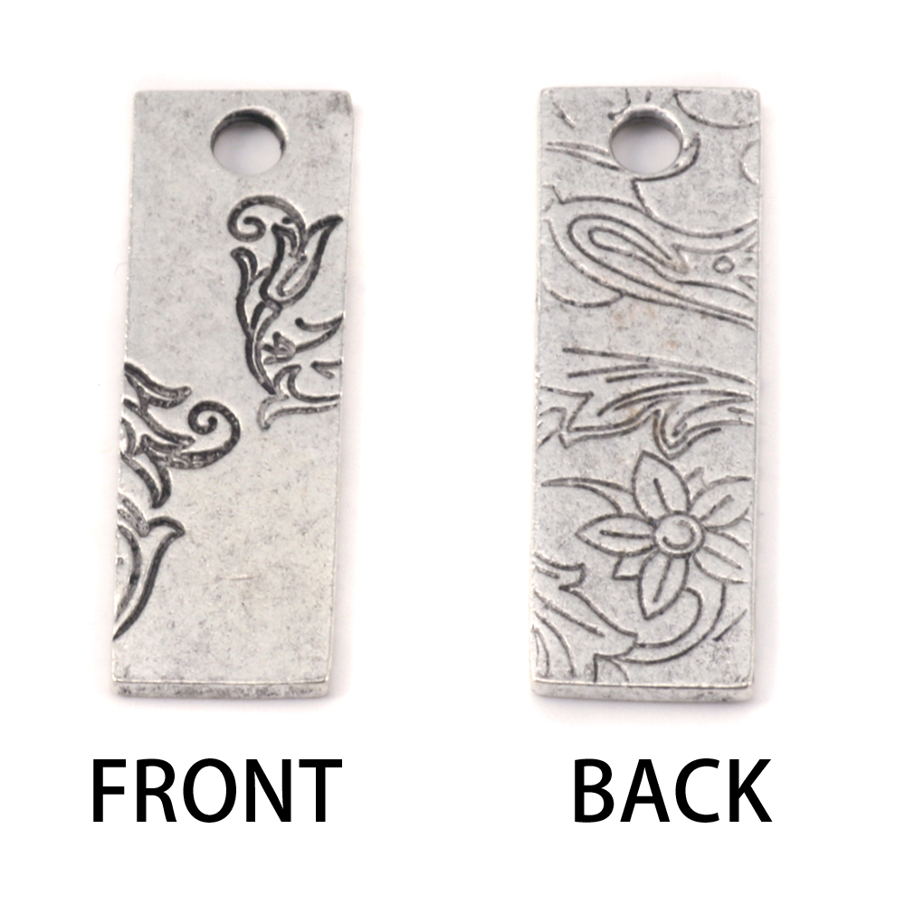 Metal Stamping Blanks Silver Plated Pewter Thin Vine Rectangle Pendant, 16g