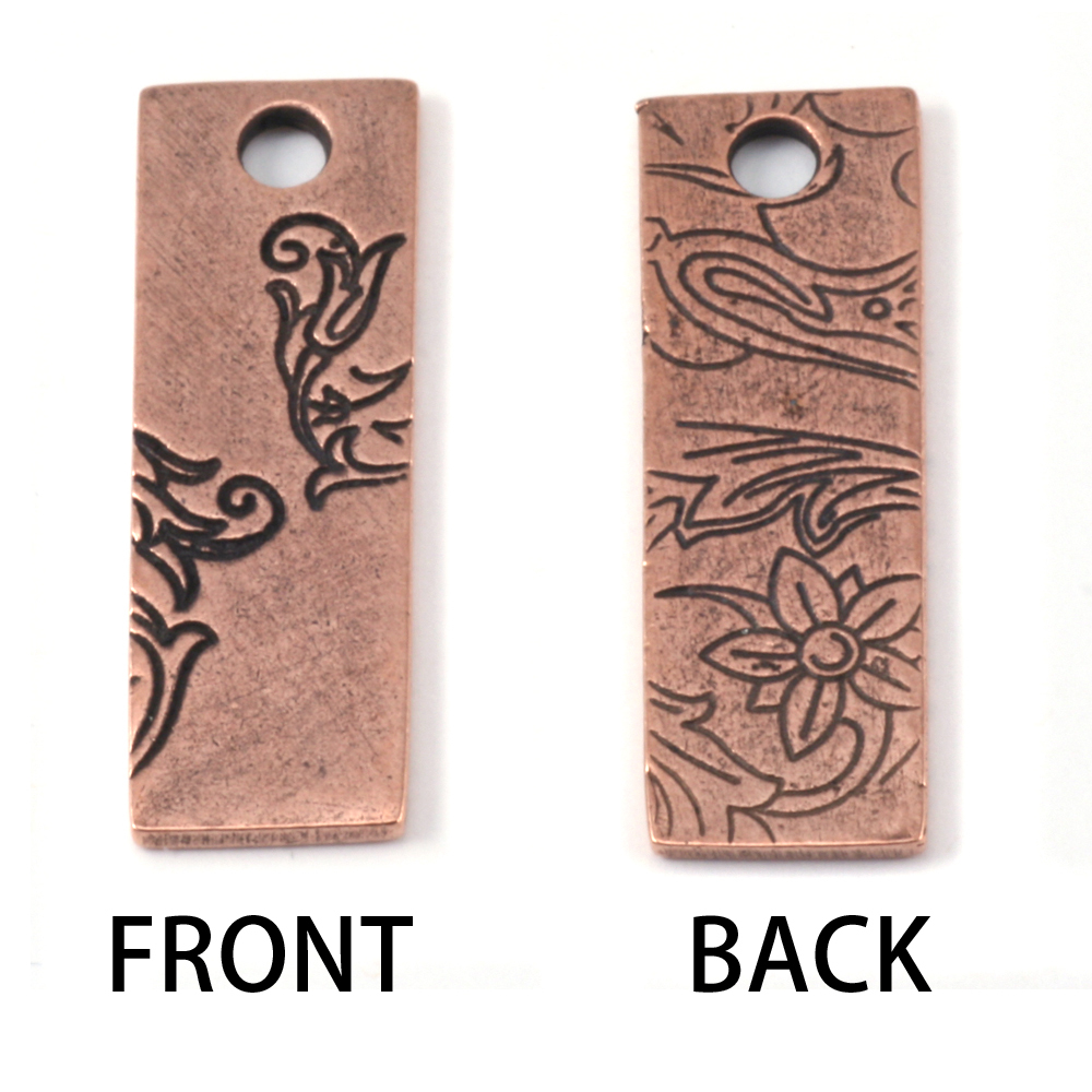 Metal Stamping Blanks Copper Plated Pewter Thin Vine Rectangle Pendant, 16g