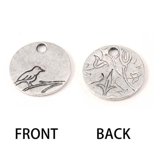 Metal Stamping Blanks Silver Plated Pewter Bird Pendant 1/2 inch (13mm) Circle, 16g