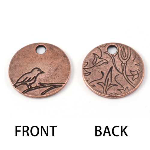 Metal Stamping Blanks Copper Plated Pewter Bird Pendant 1/2 inch (13mm) Circle, 16g