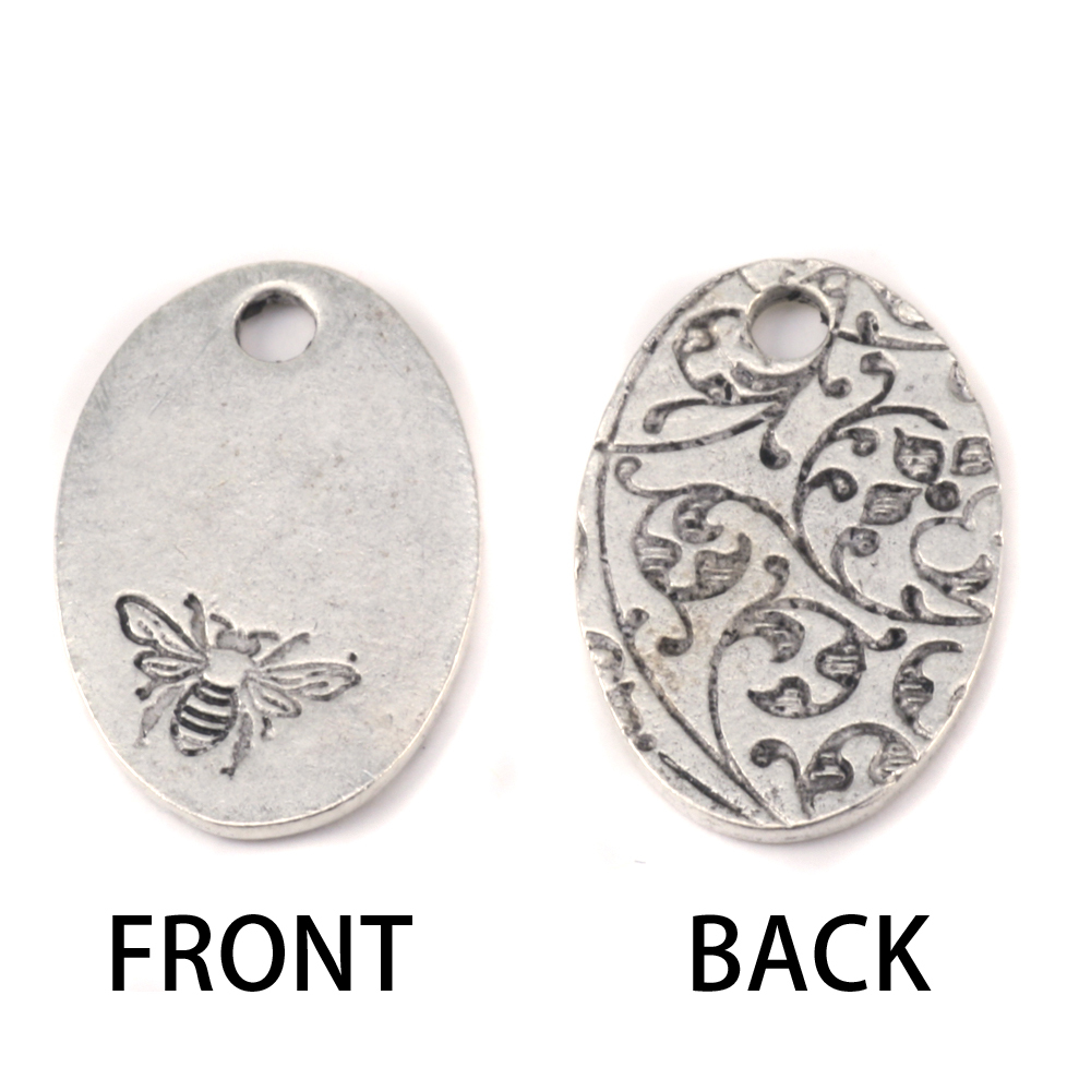 Metal Stamping Blanks Silver Plated Pewter Oval Bee Pendant, 16g