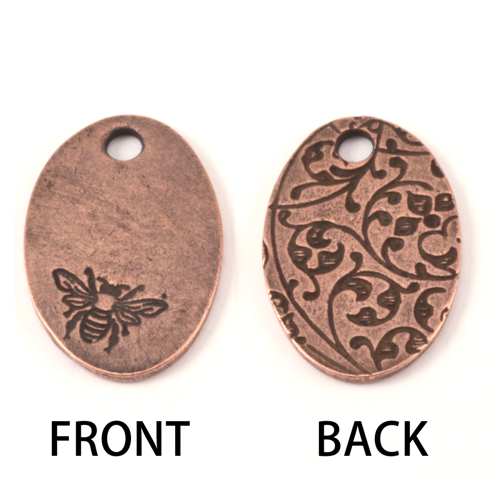 Metal Stamping Blanks Copper Plated Pewter Oval Bee Pendant, 16g