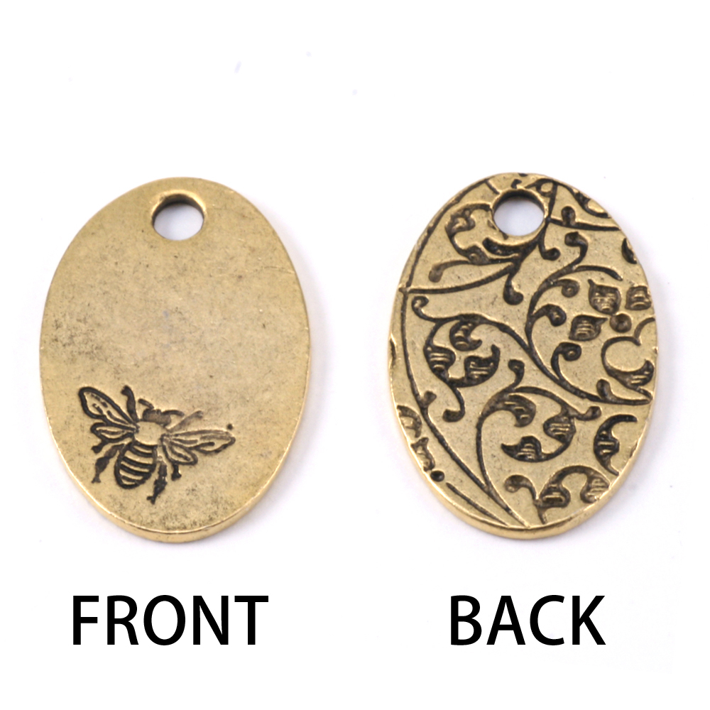 Metal Stamping Blanks Gold Plated Pewter Oval Bee Pendant, 16g
