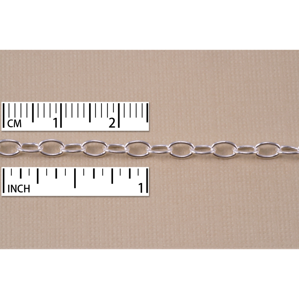 Chain & Clasps Silver Filled Small Oval Cable Chain, 5mm x 3mm, by the Inch