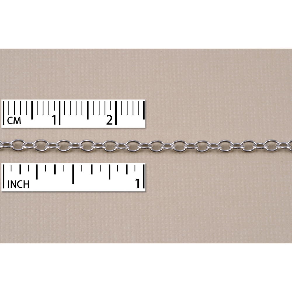 Chain & Clasps Rhodium Finish, Small Round Cable Chain, 2mm, by the Inch