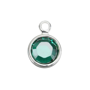Charms & Solderable Accents Swarovski Crystal Channel Charm (Emerald - MAY), 6mm Stone, Pack of 8