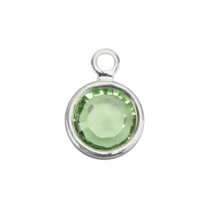 Charms & Solderable Accents Swarovski Crystal Channel Charm (Peridot - AUGUST), 6mm Stone, Pack of 8