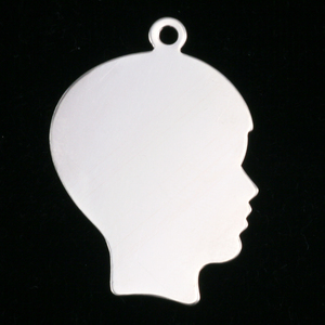 Metal Stamping Blanks Sterling Silver Boy Head Silhouette Charm, 24g