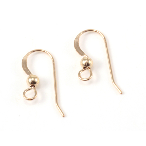 Clasps, Findings & Stringing Gold Filled Flat Earwires, 3mm Ball