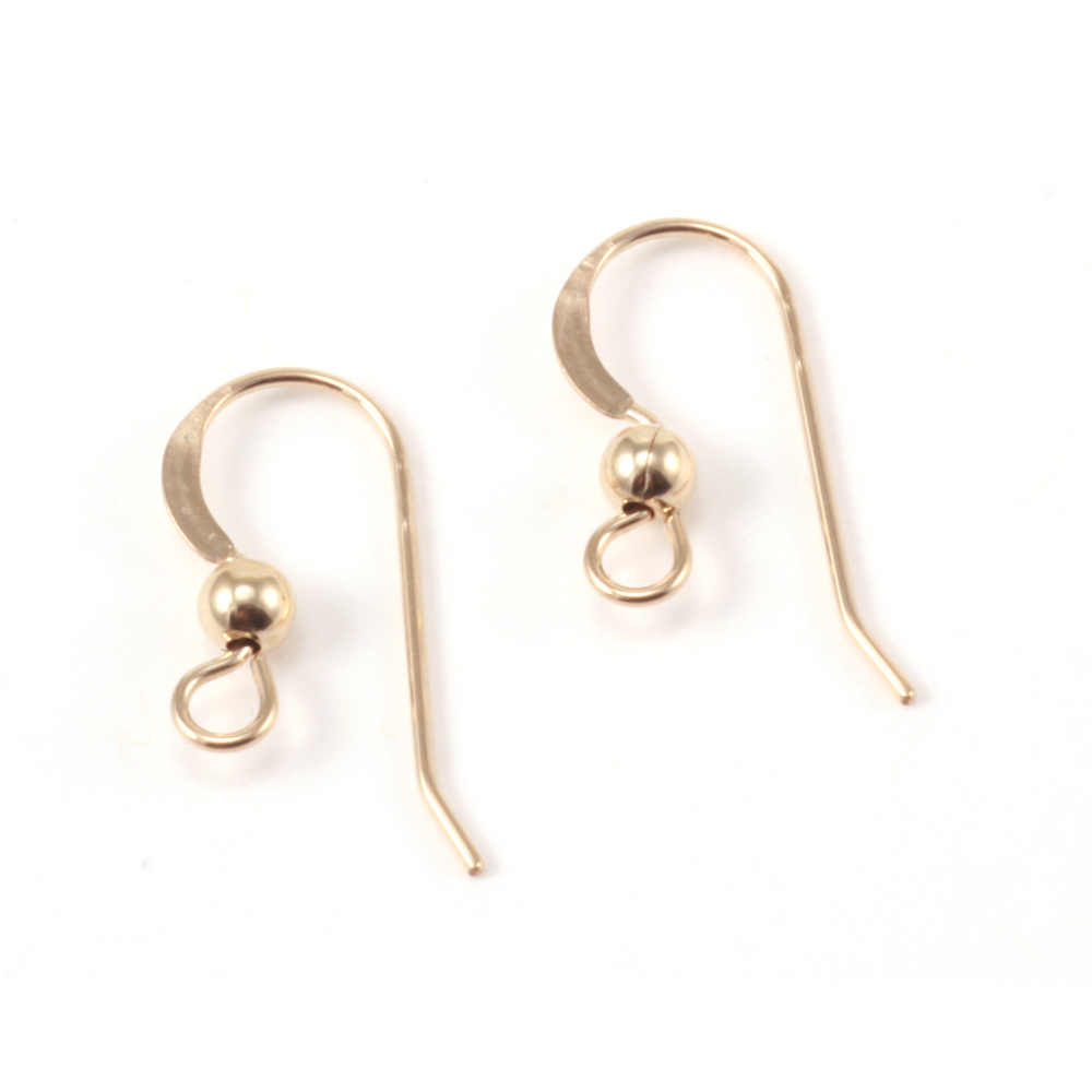 Rivets,  Findings & Stringing Gold Filled Flat Earwires, 3mm Ball