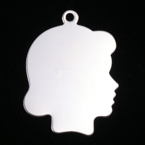 Metal Stamping Blanks Sterling Silver Girl Head Silhouette Charm, 24g