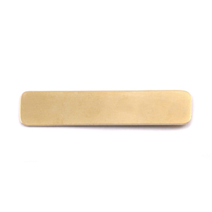 "Metal Stamping Blanks Brass Rounded Rectangle, 45mm (1.77"") x 10mm (.39""), 24g, Pack of 5"