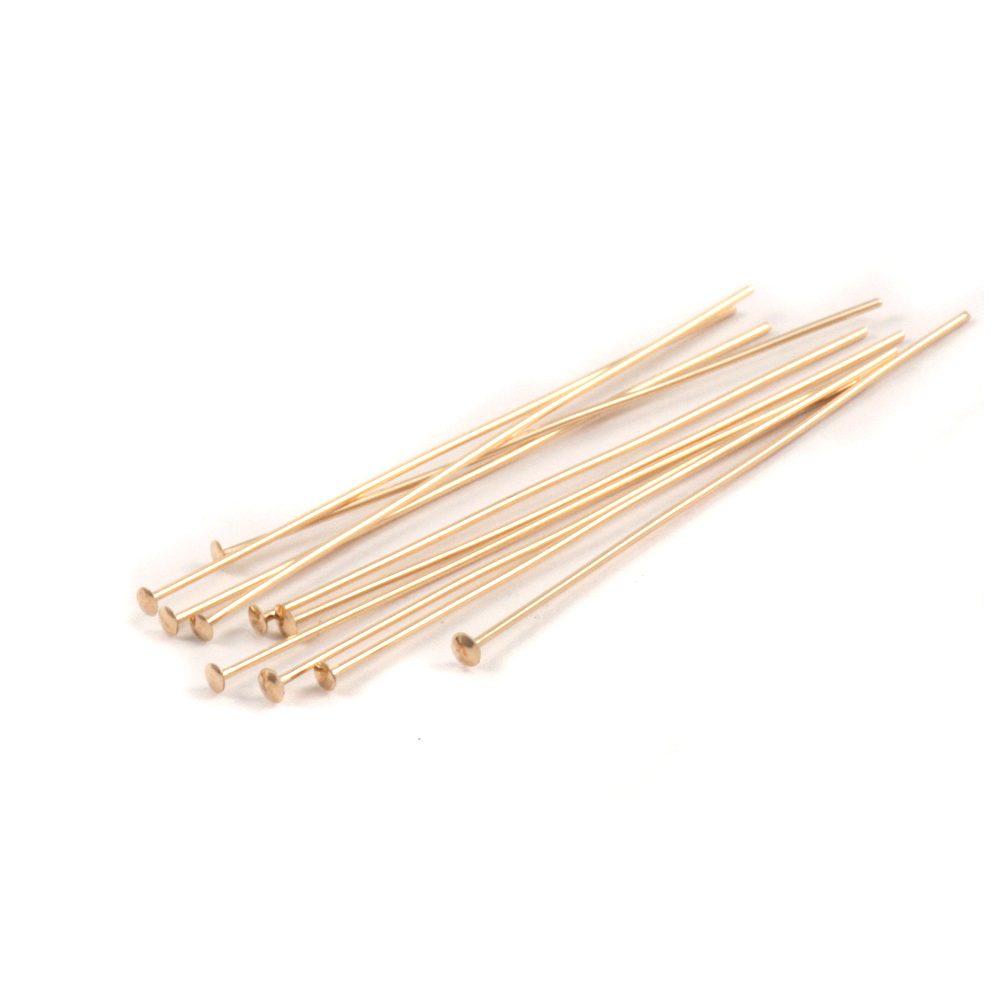 "Rivets,  Findings & Stringing Gold Filled Head Pins 1 1/2"" (38mm), 24 gauge pack of 10"