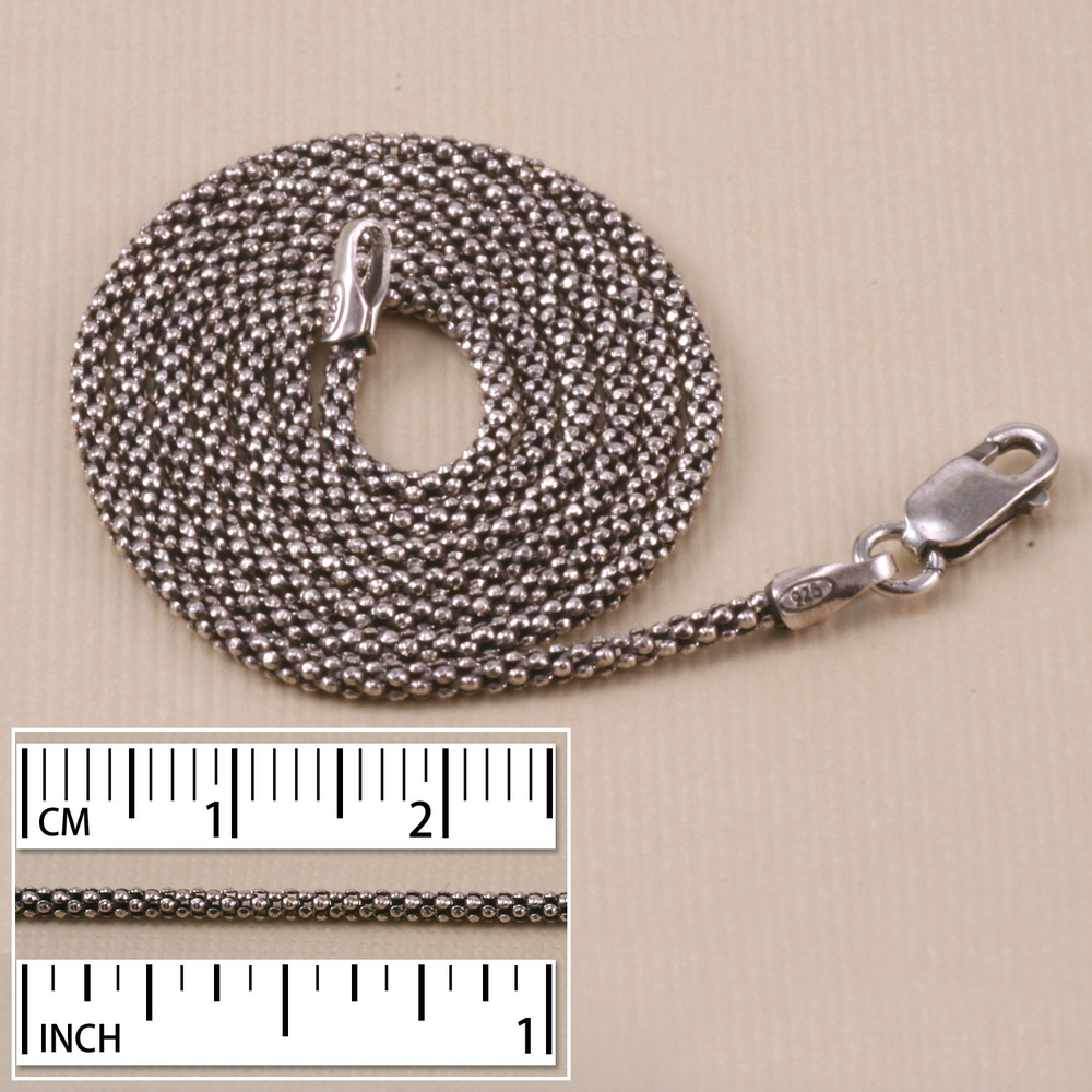 Chain & Clasps Sterling Silver Popcorn Chain, Oxidized, 16""