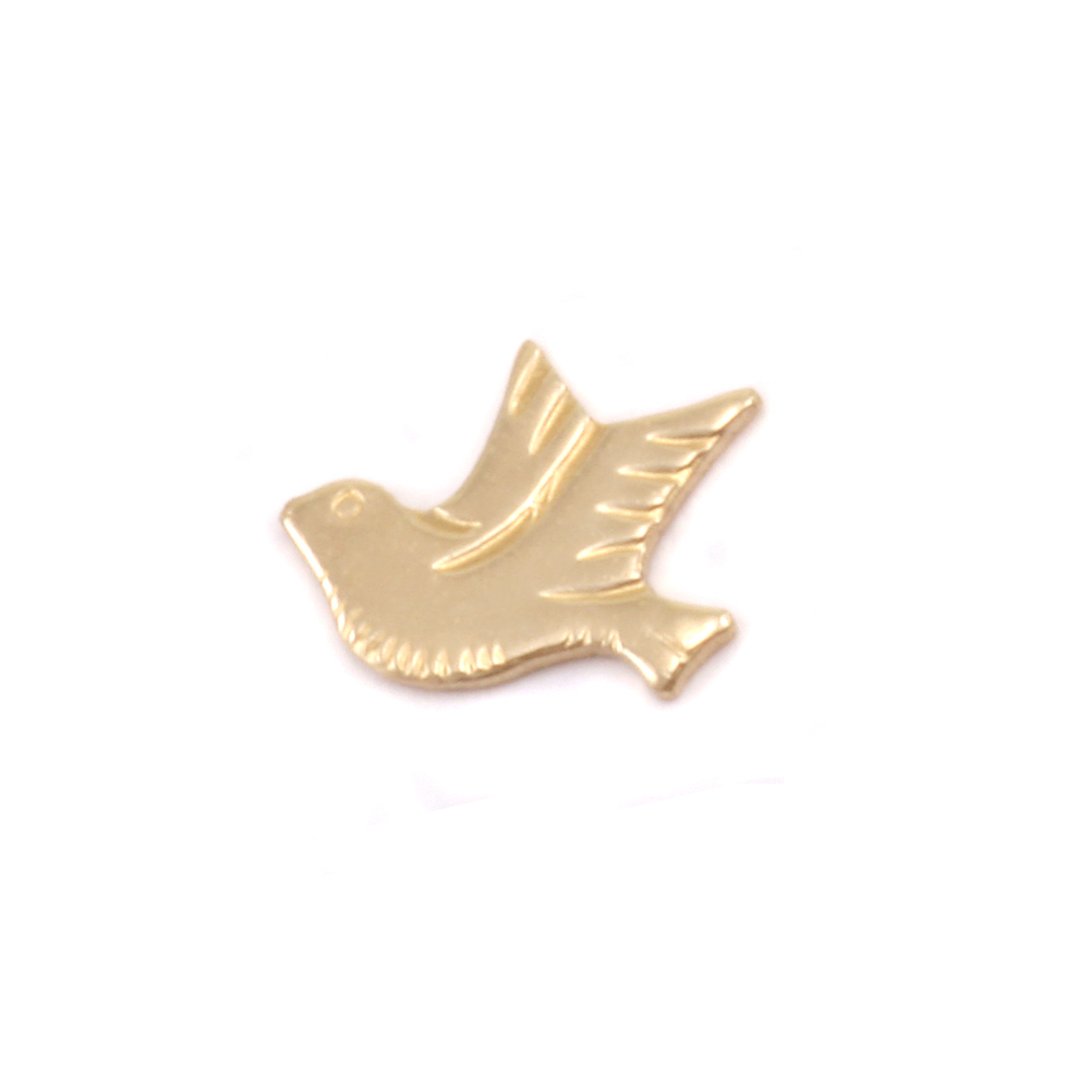 "Charms & Solderable Accents Brass Dove Left Facing Solderable Accent, 8.5mm (.34"") x 6.7mm (.26""), 24 Gauge - Pack of 5"