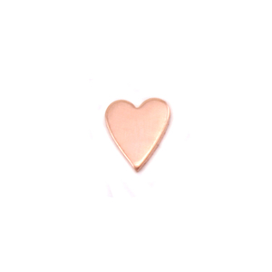 "Charms & Solderable Accents Copper Skinny Heart Solderable Accent, 5.4mm (.21"") x 4.5mm (.18""), 24g - Pack of 5"