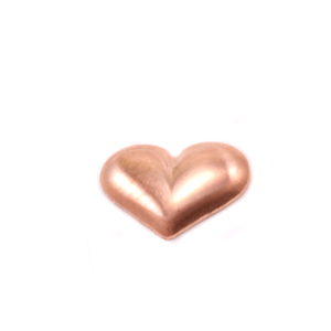 "Charms & Solderable Accents Copper Puffy Heart Solderable Accent, 9.1mm (.36"") x 6.4mm (.25""), 24 Gauge - Pack of 5"